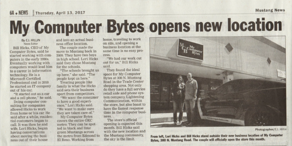 Scanned image of a local news story in the Mustang News - My Computer Bytes opens new location