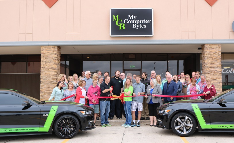 Photo of the My Computer Bytes ribbon cutting